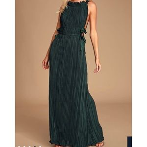 My Forever Love Forest Green Pleated Maxi Dress